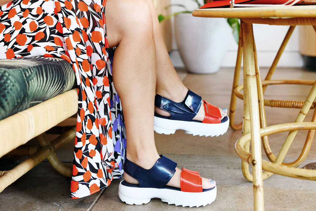 Red and blue sports sandals